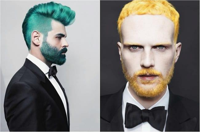 roupas clássicas e barbas coloridas